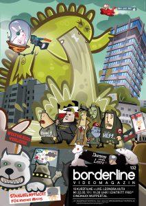 Comic-Plakatmotiv Borderline 132 - Ein riesengroßer Dinosaurier erbricht sich auf dumm aussehende Nazis, im Hintergrund ist das Sparkassengebäude in Wuppertal zu sehen.